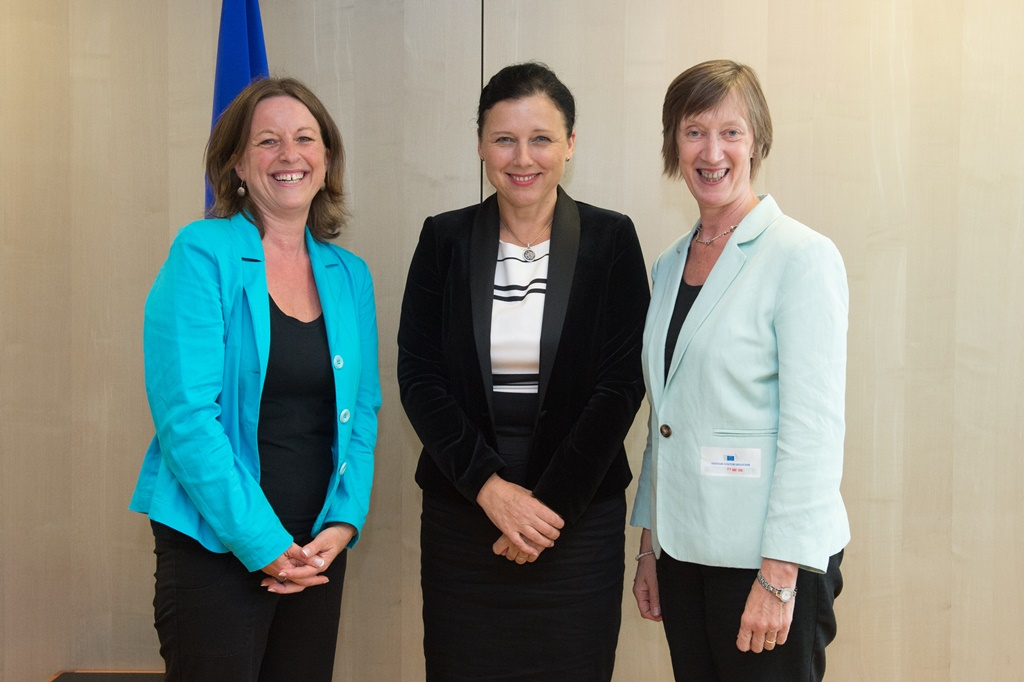 Anne Gaspard (Equinet Executive Director), Věra Jourová (EU Commissioner for Justice, Consumers and Gender Equality), Evelyn Collins (Equinet Chair)