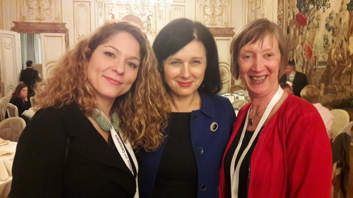 Tena Šimonović Einwalter, Věra Jourová, Evelyn Collins at Colloquium dinner